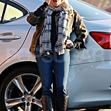Reese Witherspoon yawned while waiting for a friend.