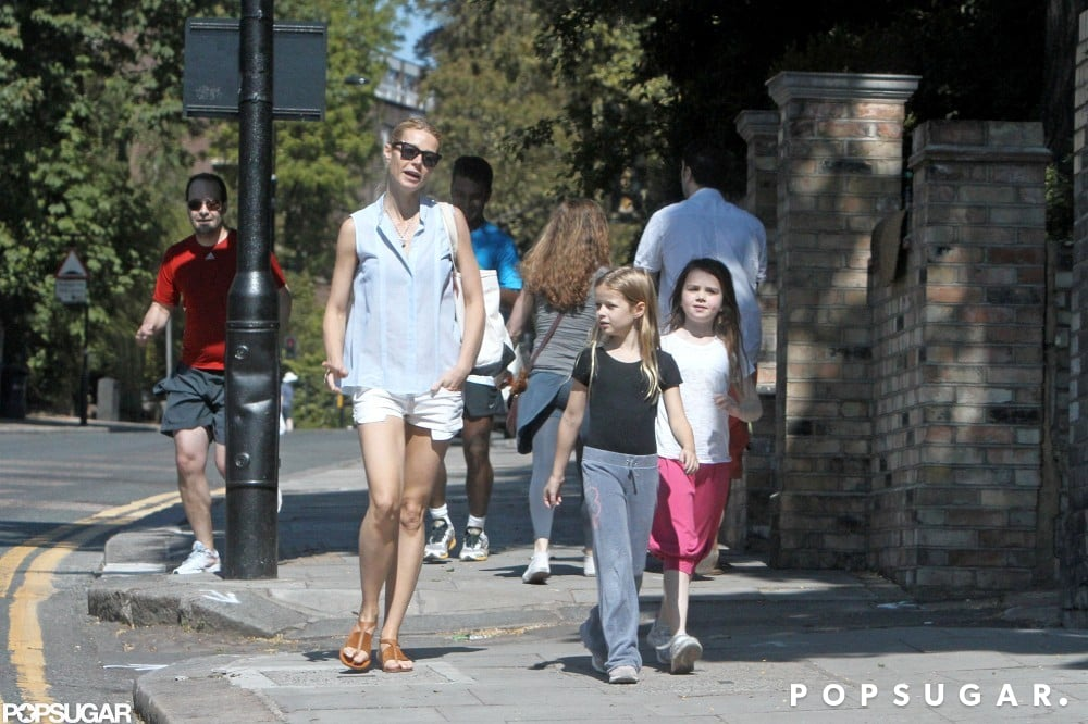 Gwyneth Paltrow strolled about with Apple in London.