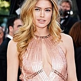 """Doutzen Kroes attended the Le Passé premiere wearing a sparkling blush gown, which she paired with a """"no-makeup"""" makeup look. First, her skin was perfected using L'Oreal Magic Skin Beautifier BB Cream in Medium ($11), with the brand's True Match Super-Blendable Blush in Tender Rose ($11) on her cheeks. A touch of color on the lips, Colour Caresse Wet Shine Stain in Pink Resistance ($10), completed her luminous look."""