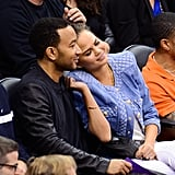 They cuddled up while courtside at an LA Lakers game in April 2014.