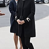 Kate debuted this black Goat coat during her second pregnancy. She then wore it when she visited Birmingham with Prince William in November 2017.