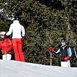 Kate Middleton with father Michael Middleton, mother Carole Middleton, and sister Pippa Middleton in France on a ski vacation.