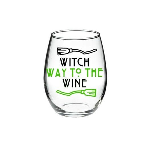 Witch Way to the Wine Halloween Wine Glass