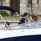 Isla Fisher and Sacha Baron Cohen had fun in the Australian breeze on a boat.