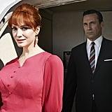 Joan (Christina Hendricks) and Don (Hamm) arrive at their destination.
