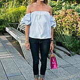 Pair an Off-the-Shoulder Top With Cuffed Jeans