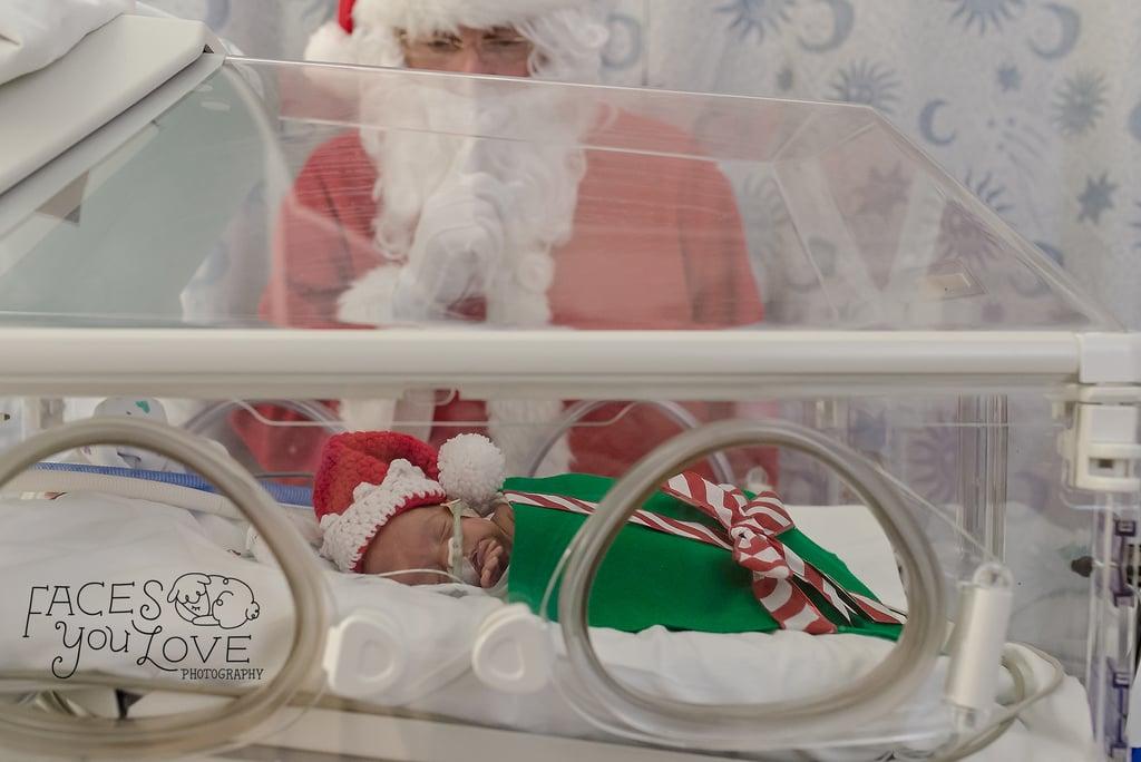 Photos of Preemies Dressed as Presents Meeting Santa Claus