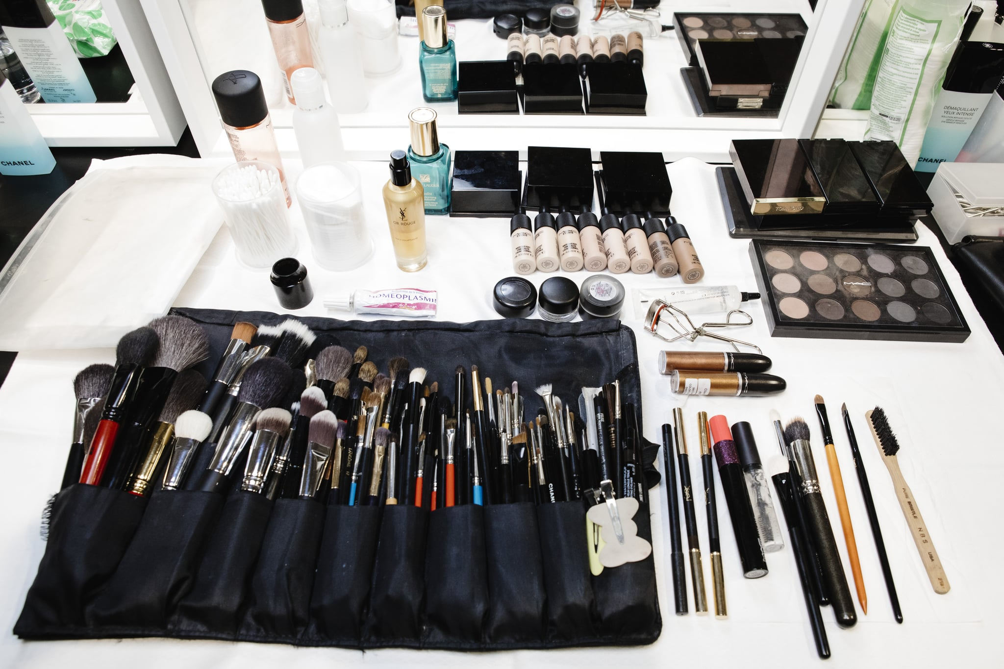 MILAN, ITALY - FEBRUARY 24: Mac products are displayed ahead backstage ahead of the Philosophy Di Lorenzo Serafini show during Milan Fashion Week Fall/Winter 2018/19 on February 24, 2018 in Milan, Italy.  (Photo by Rosdiana Ciaravolo/Getty Images)