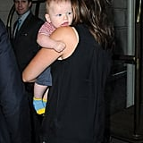 Jennifer Garner rested Samuel on her shoulder.