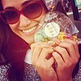 "Emmy Rossum showed her sweet support for the #100HappyDays challenge, taking a selfie with Dylan's Candy Bar treats. ""This is happiness,"" she wrote in the caption. Source: Instagram user emmyrossum"