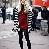Black and white stripes pop over red and black.
