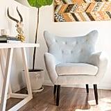 Noble House Simon Light Grey Velvet Arm Accent Chair