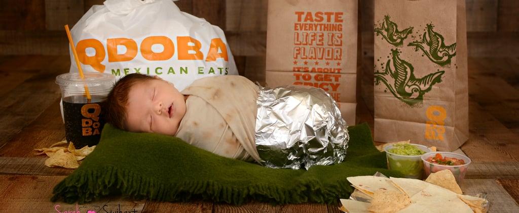 Baby's Qdoba Burrito Newborn Photo Shoot