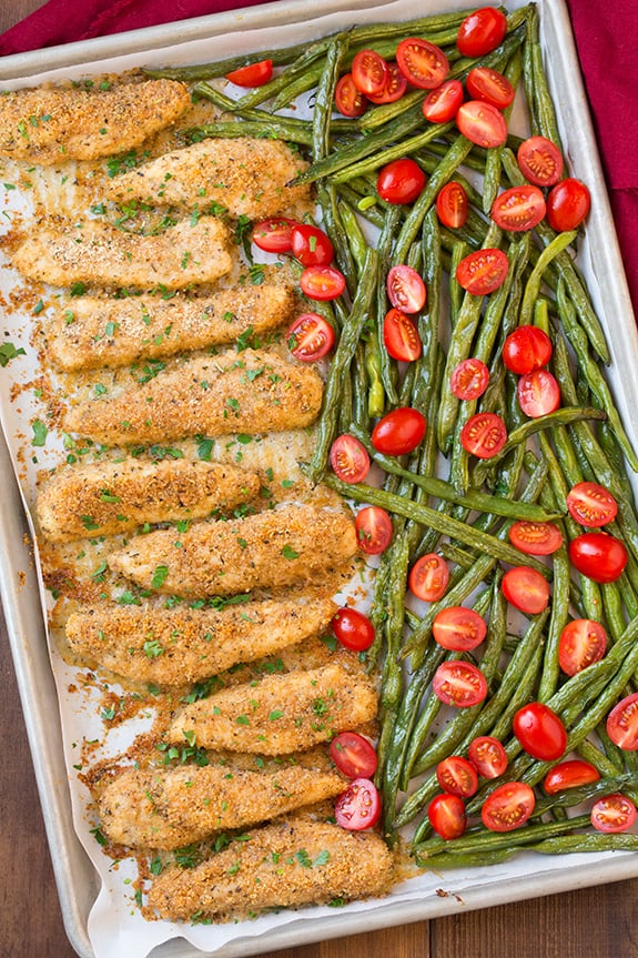 One-Pan Roasted Garlic-Parmesan Chicken Tenders and Green Beans With Fresh Grape Tomatoes