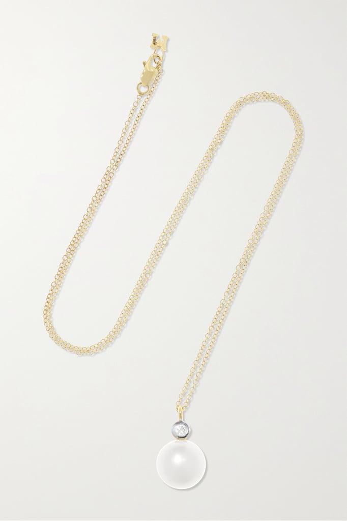 Mateo 14-Karat Gold Pearl and Diamond Dot Necklace