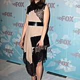 Emily Deschanel wore a mixed fabric dress with lace panels.