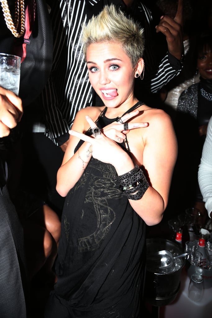 Miley's tongue had a blast at the Grammys in February.