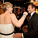 Hugs all around! Bradley Cooper showed Jennifer Lawrence love.