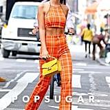 Emily Ratajkowski's Orange Plaid Outfit