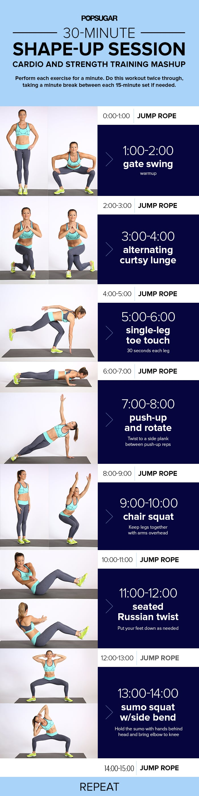 Printable Workout 30 Minutes Cardio And Strength Training