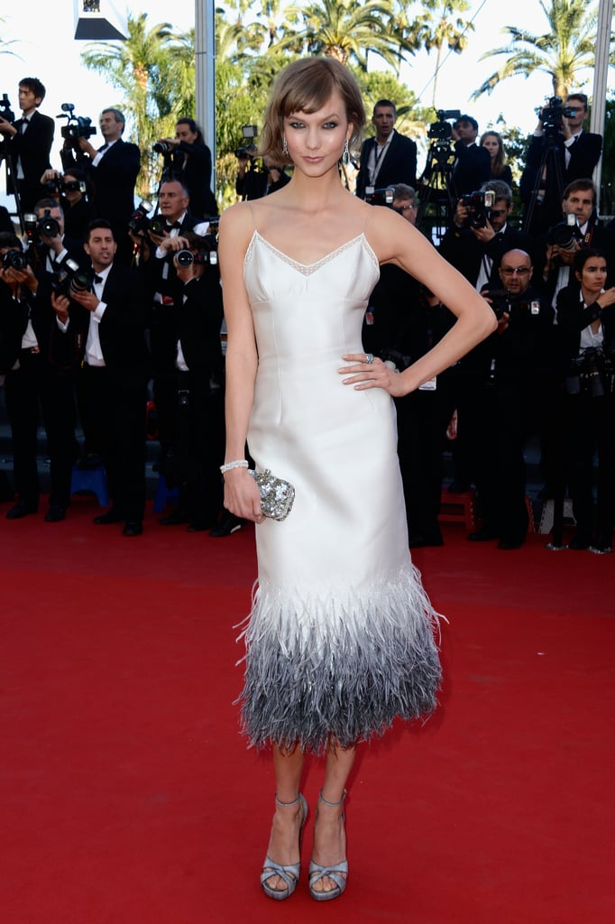 Also celebrating The Immigrant premiere, Karlie Kloss looked prepared to take fashionable flight in a feathered dress.