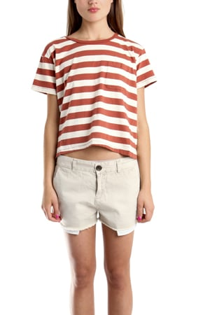There's something awesomely laid-back in this perfect-fit tee. The shrunken fit makes for a flattering fit, and we love the way it looks just like this, with a pair of worn cutoffs to take right to the beach.  Current/Elliott Freshman Pocket Tee in Red Stripe ($108)