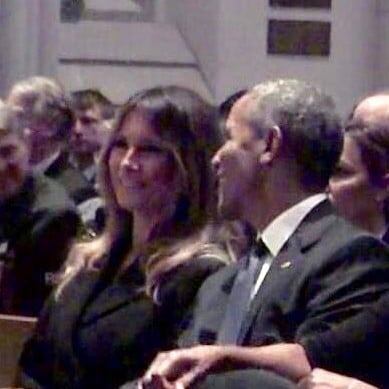 Melania Trump Smile at Barack Obama at Barbara Bush Funeral