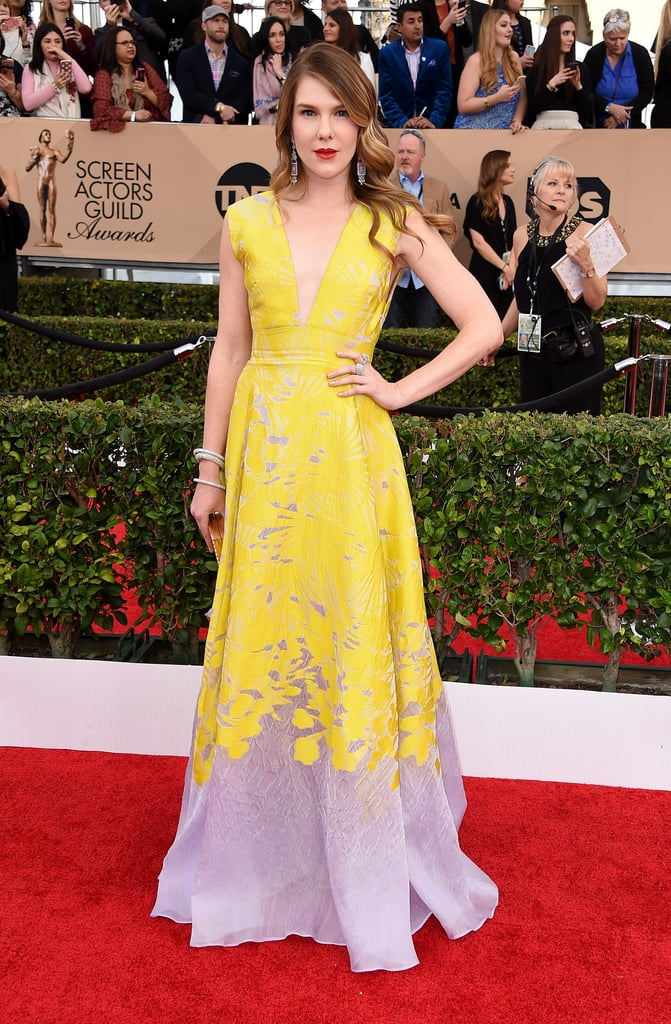 Lily Rabe in a Lela Rose gown.