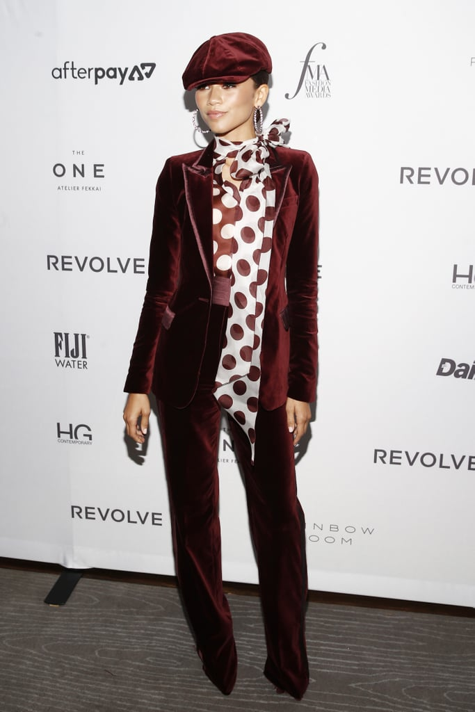 Zendaya's Red Velvet Suit at The Fashion Media Awards 2019