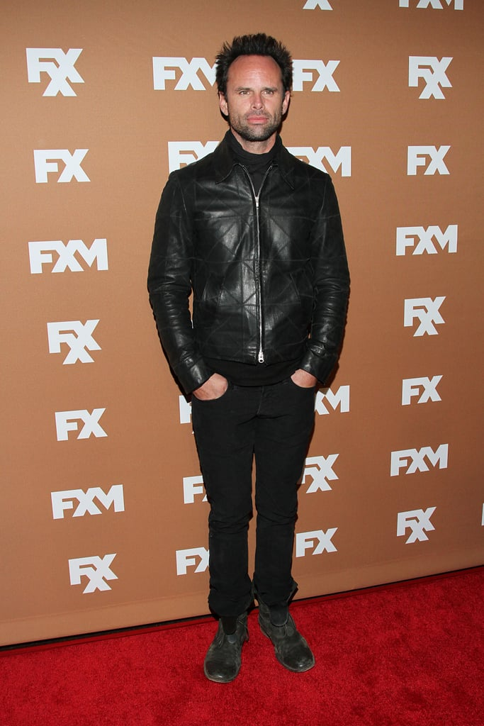 Walton Goggins wore a leather jacket.