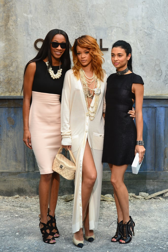 Rihanna posed with her friends at the Chanel show on Tuesday.