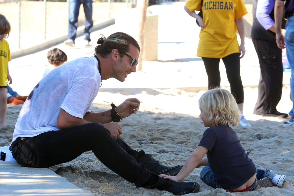Gavin Rossdale hung out with Zuma Rossdale at the park.
