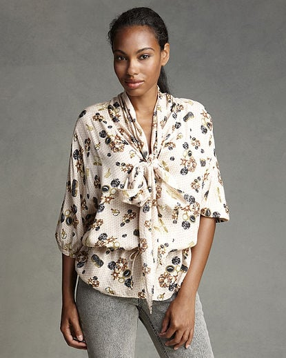 Pretty and sophisticated, this tie-neck blouse is great for the office.  Newport News Charm-Print Tie-Neck Blouse ($10, originally $44)