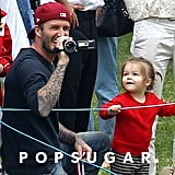 David Beckham filmed while his son Cruz competed in his school's annual sports day.