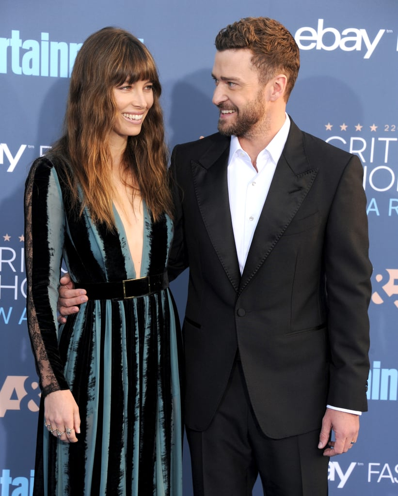 The red carpet got a whole lot hotter when Justin Timberlake and Jessica Biel arrived at the Critics' Choice Awards in Santa Monica, CA, on Sunday evening. Justin was his usual handsome self in a black tux, and Jessica — who was clearly aware of this — obliged photographers with some solo shots of him, stepping aside to let him pose on his own. Jessica also kept things sexy in a black and teal plunging-neckline dress that coordinated perfectly with Justin's outfit. The couple's latest outing comes a few weeks after the duo was spotted on a sweet stroll in NYC.        Related:                                                                                                           The Critics' Choice Awards Red Carpet's So Glamorous, You Won't Want to Miss 1 Dress