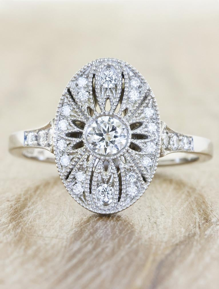 Oval-Shaped Ornate Laser Cut Engagement Ring by Ken and Dana Design