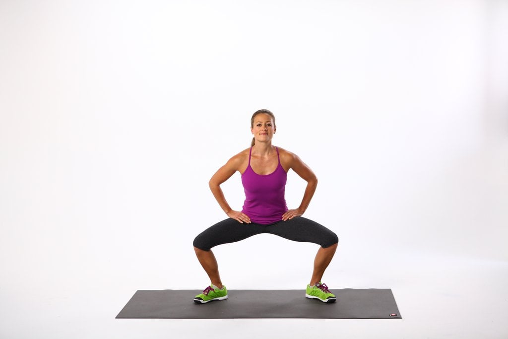 A three-minute squat and plank workout.