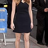 Jennifer arrived at The Late Show with David Letterman in a black cut-out dress by Raoul.