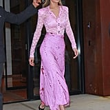 Sticking to the monochrome look this year, Gigi stepped out in a lilac look by Nina Ricci with a pair of matching Prada pumps in Nov. 2017.