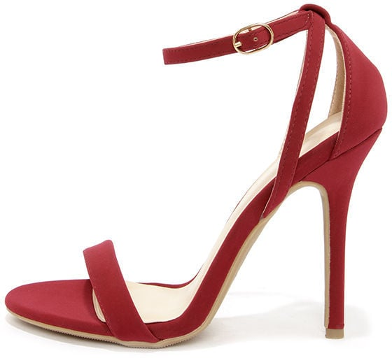 Glam Squad Wine Red Nubuck Ankle Strap Heels