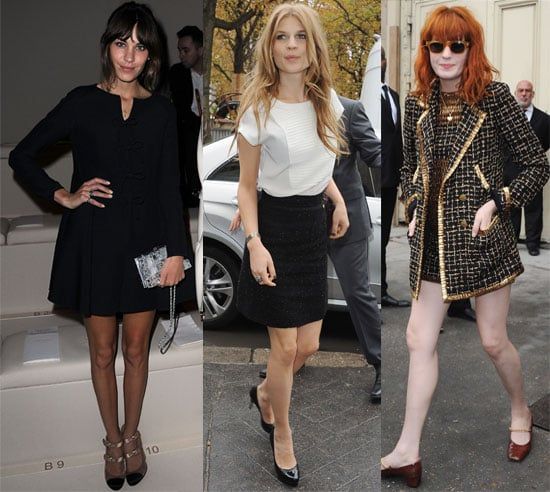 Pictures of Celebs at Chanel and Valentino Paris Fashion Week Shows, Alexa Chung, Clemence Poesy, Kanye West, Florence Welch