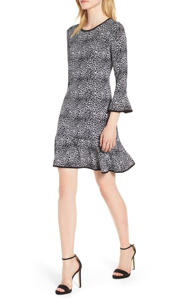 Michael Kors Wavy Leopard Flounce Dress