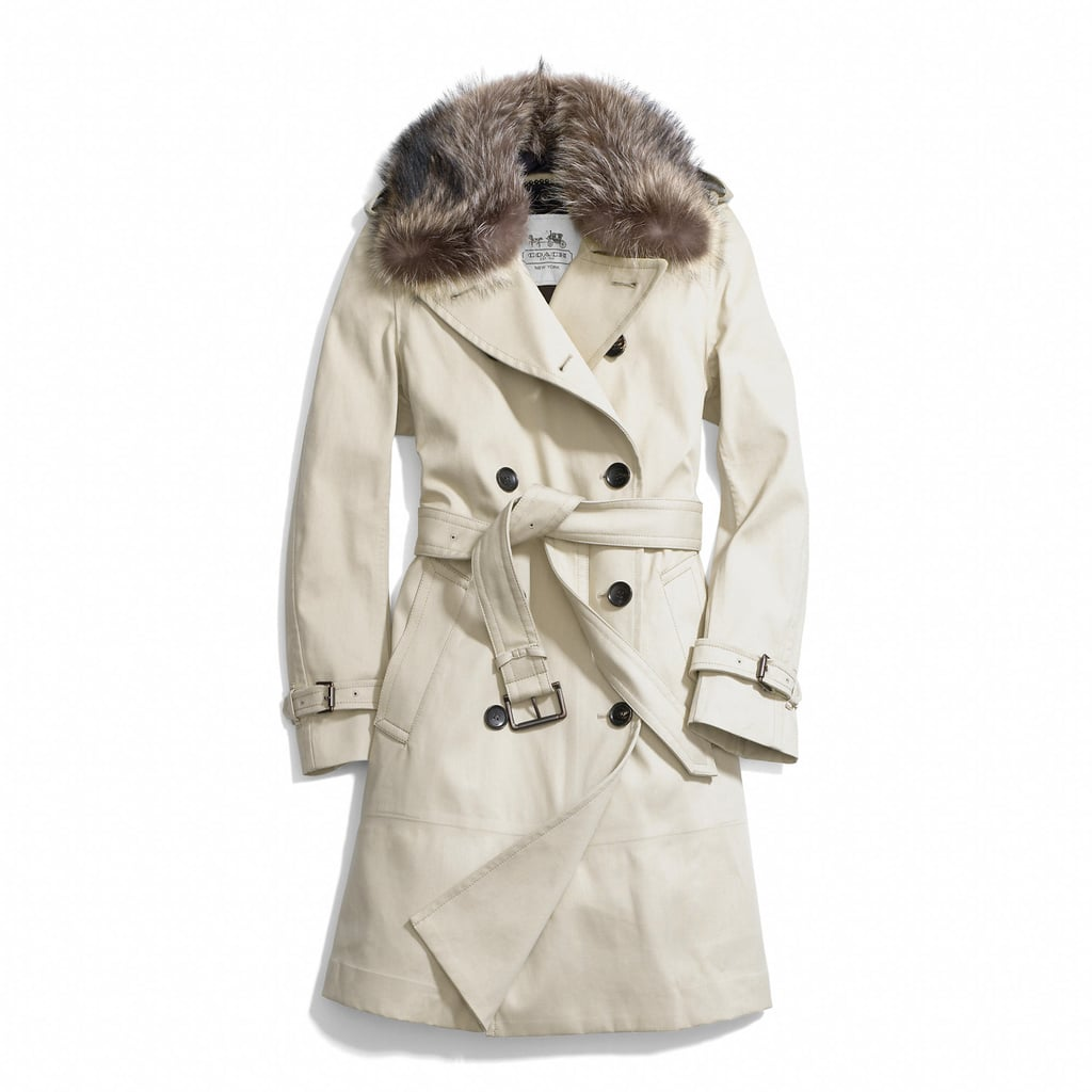 Fur-Collared Trench Coat