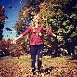 Nicky Hilton had fun with a pile of Fall leaves. Source: Instagram user nickyhilton