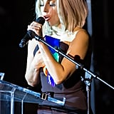 Lady Gaga sang the National Anthem at the NYC Pride rally on Friday.