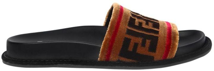 Fendi 20mm Logo Velvet Slide Sandals