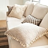 Chunky Textured Gray Pillow With Poms