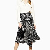 Topshop Giraffe Spot Pleated Midi Skirt