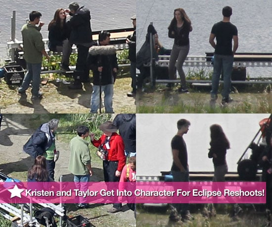 Pictures of Kristen Stewart and Taylor Lautner Doing Reshoots For Eclipse in Vancouver