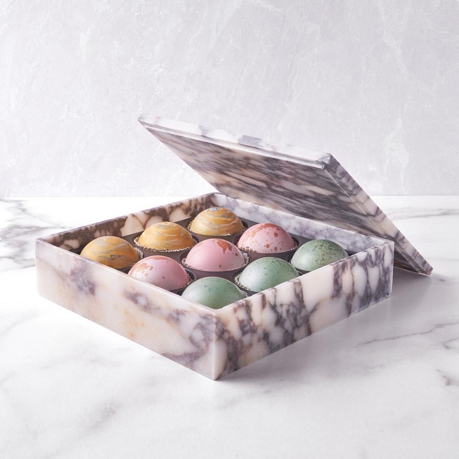 Flair Chocolatier Marble Belgian Chocolate Truffle Box, 9 pc.